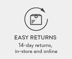 Easy Returns. 14-day returns, in-sotre and online.
